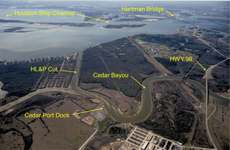 Aerial view of Cedar Bayou